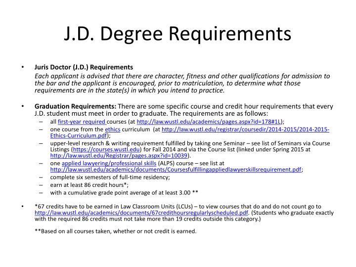 J.D. Degree Requirements