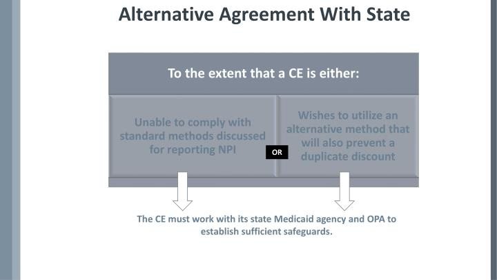 Alternative Agreement With State