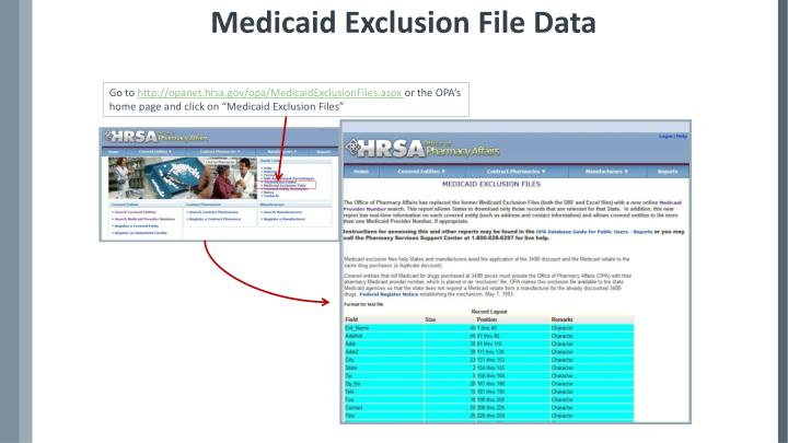 Medicaid Exclusion File Data