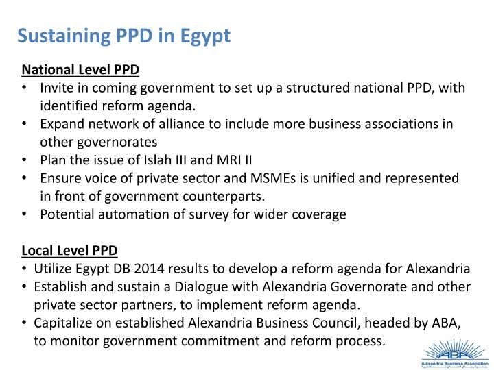 Sustaining PPD in Egypt