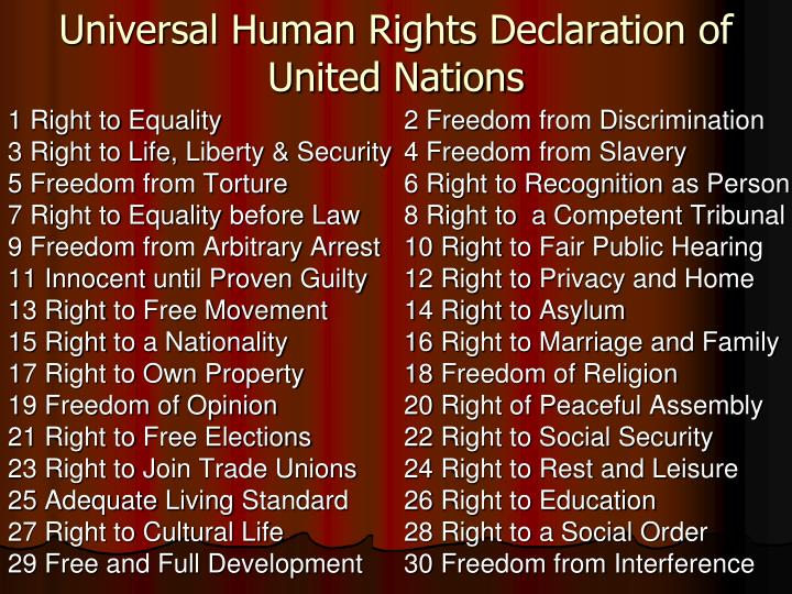 Universal human rights declaration of united nations