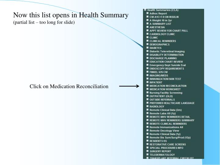 Now this list opens in Health Summary