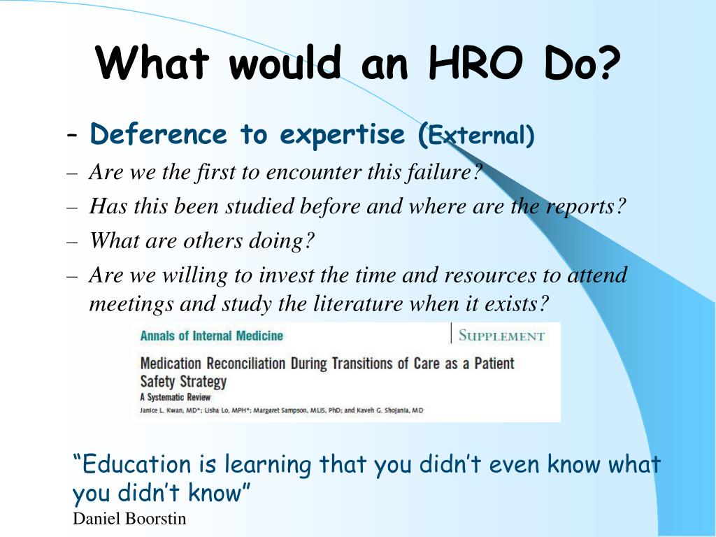 PPT - Is Your Organization a HRO? (High Reliability