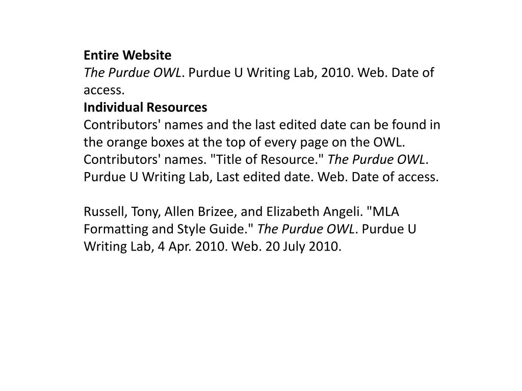 ppt   persuasive essay powerpoint presentation   id entire website the purdue owl purdue u writing lab  web date of  access individual resources contributors names and the last edited date  can be