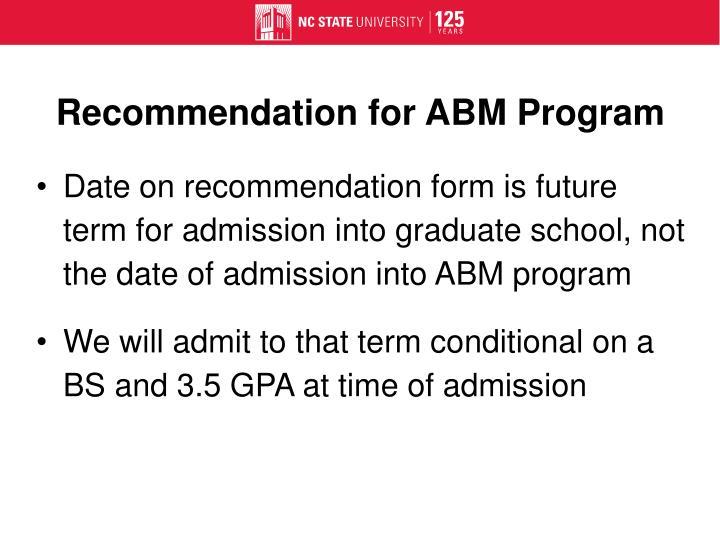 Recommendation for ABM Program