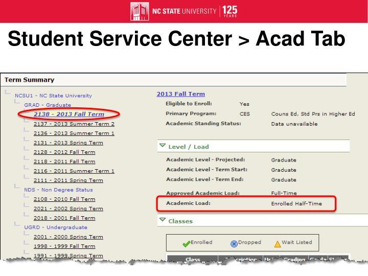 Student Service Center >