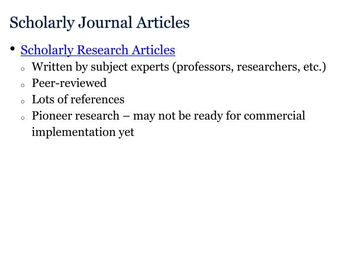Scholarly Journal Articles