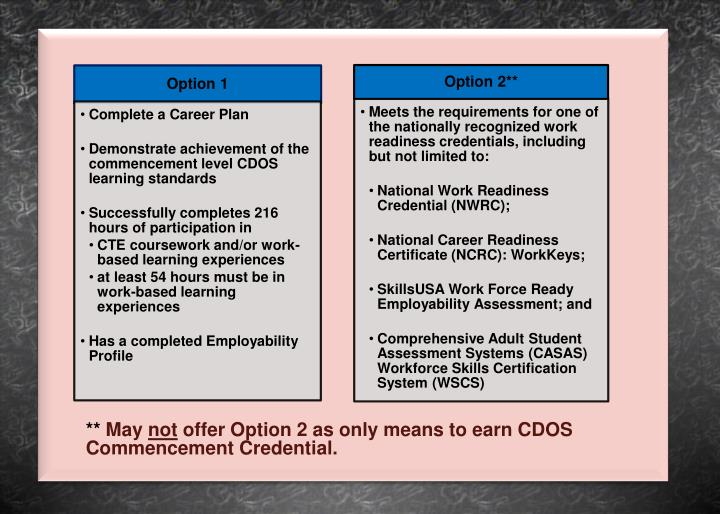 May not offer option 2 as only means to earn cdos commencement credential s credentials