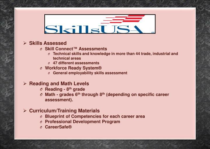 Skills Assessed
