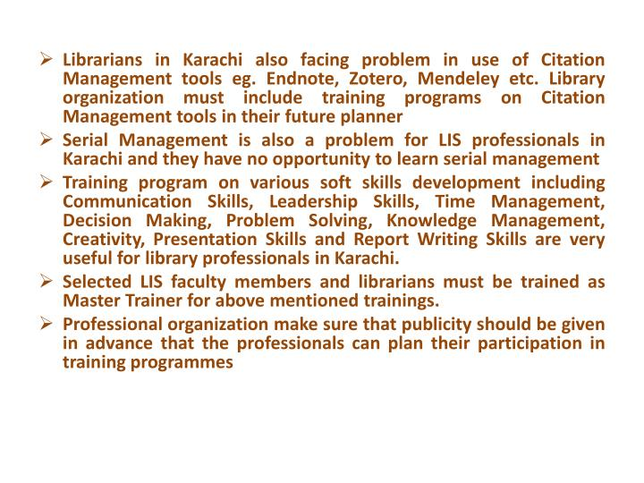 Librarians in Karachi also facing problem in use of Citation Management tools