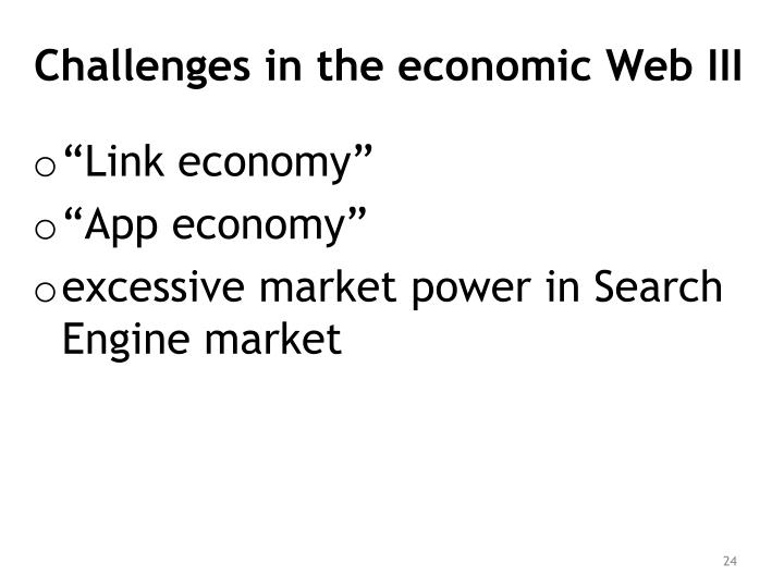 Challenges in the economic Web