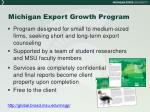 michigan export growth program