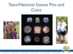 team national games pins and coins