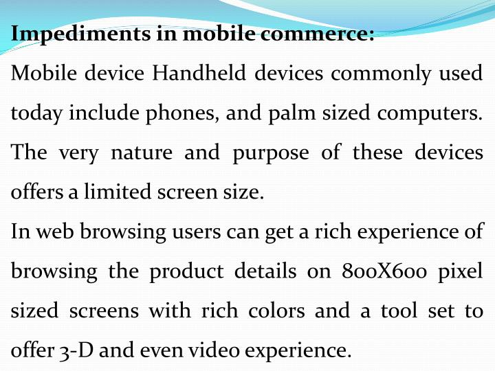 Impediments in mobile commerce: