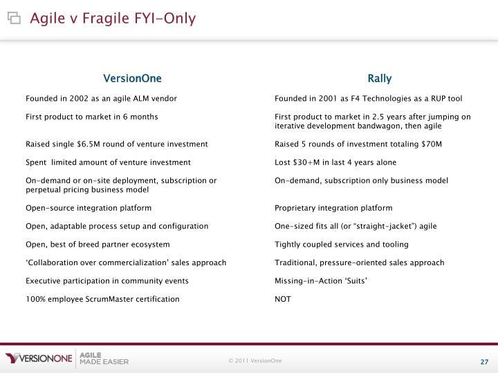 Agile v Fragile FYI-Only