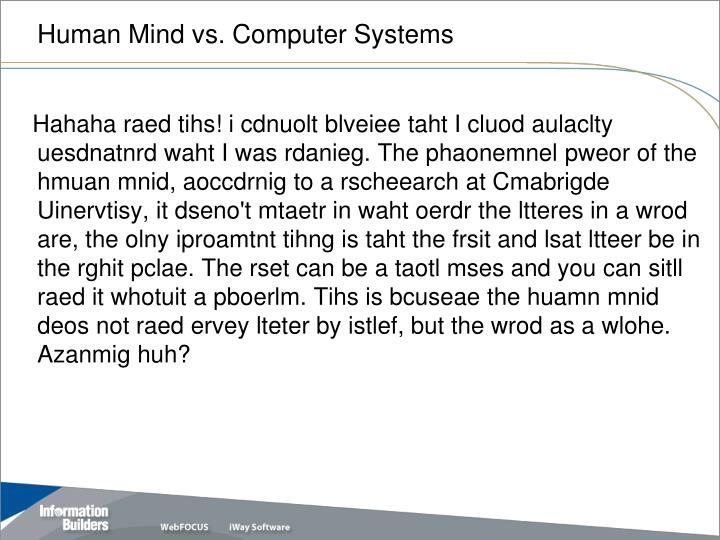 Human Mind vs. Computer Systems