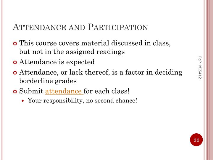 Attendance and Participation