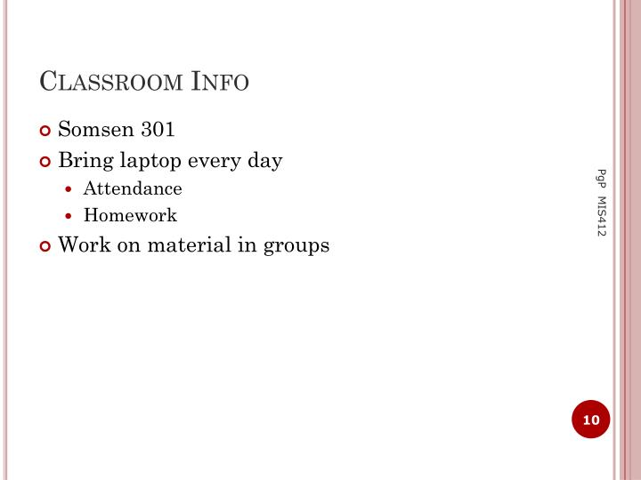 Classroom Info
