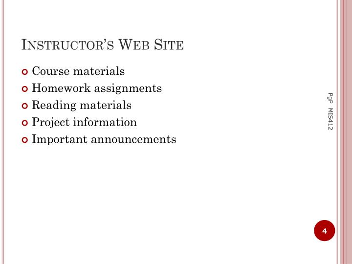 Instructor's Web Site