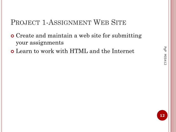 Project 1-Assignment Web Site