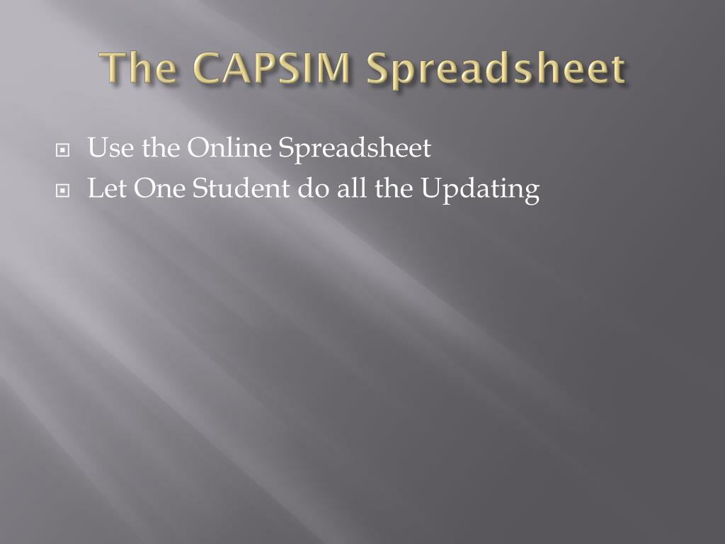 PPT - CAPSIM PowerPoint Presentation - ID:1689549