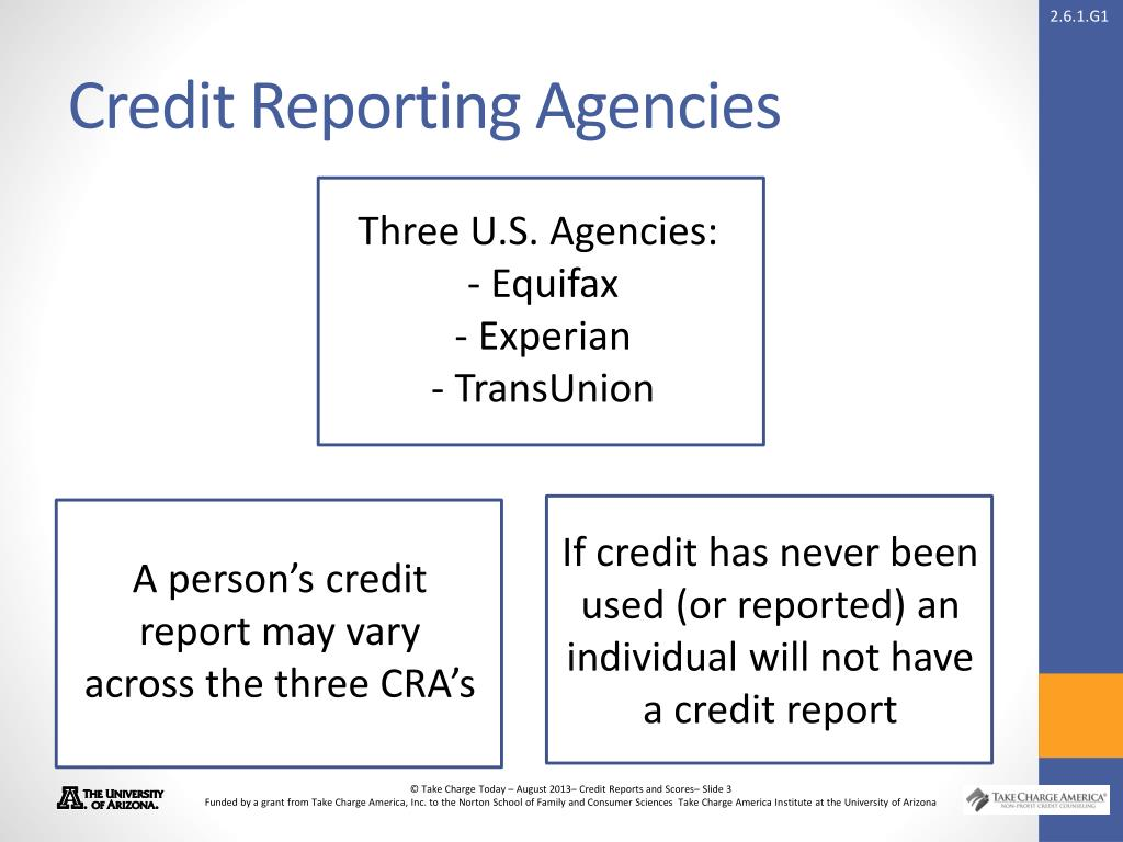 3 Credit Reporting Agencies >> Ppt Credit Reports And Scores Powerpoint Presentation