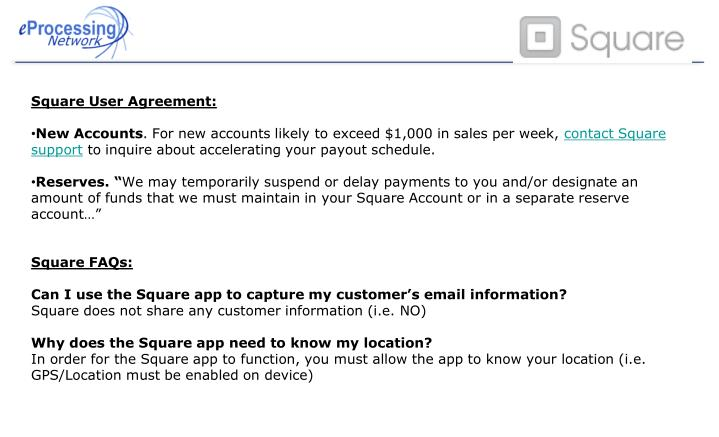 Square User Agreement: