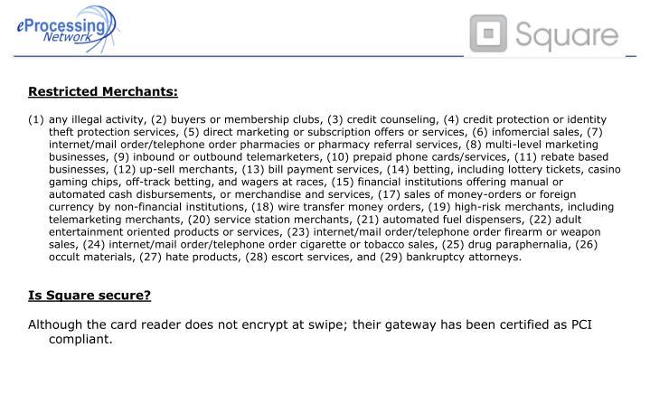 Restricted Merchants: