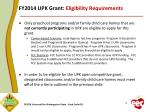 fy2014 upk grant eligibility requirements