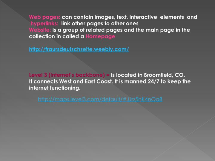 Web pages: