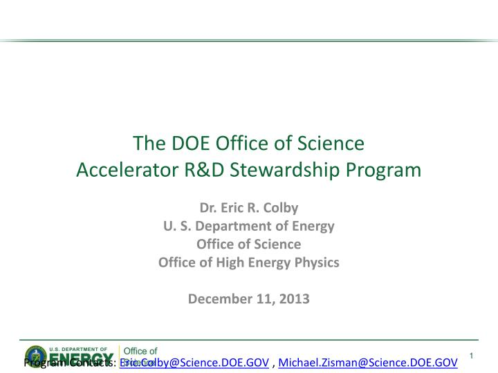 The doe office of science accelerator r d stewardship program