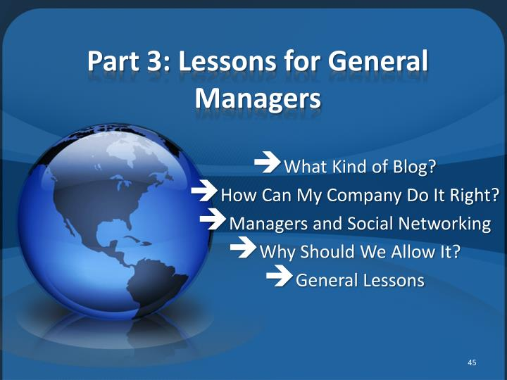 Part 3: Lessons for General Managers