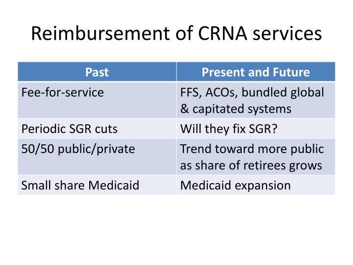Reimbursement of CRNA services