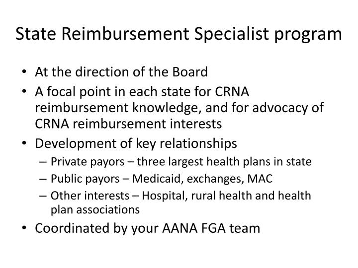 State Reimbursement Specialist program