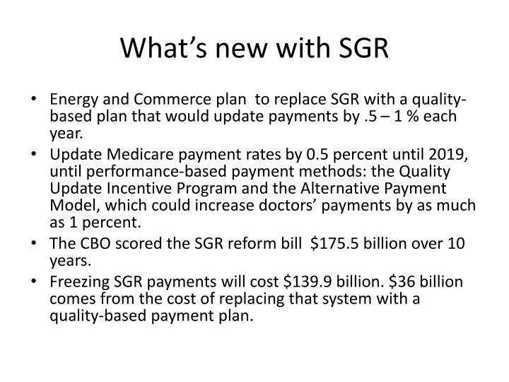 What's new with SGR