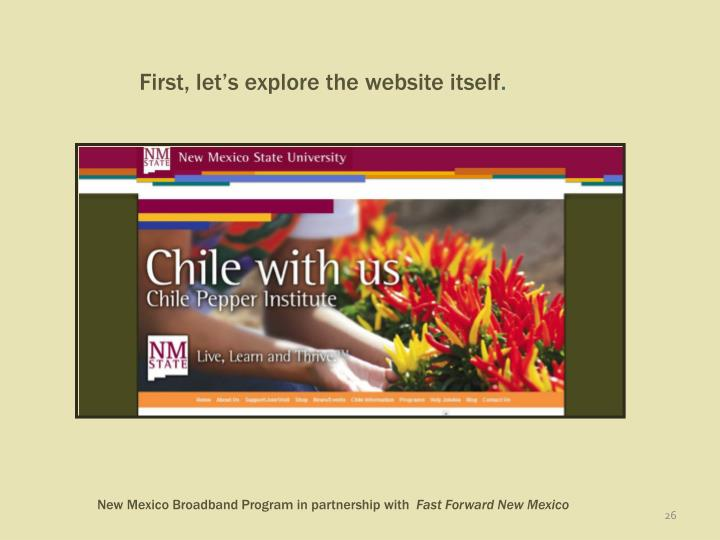 First, let's explore the website itself