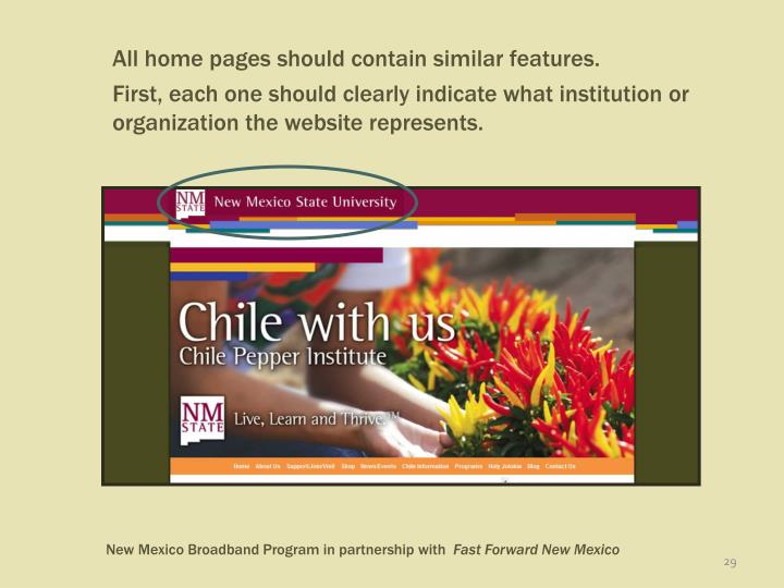 All home pages should contain similar features.