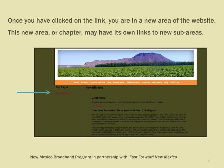 Once you have clicked on the link, you are in a new area of the website.