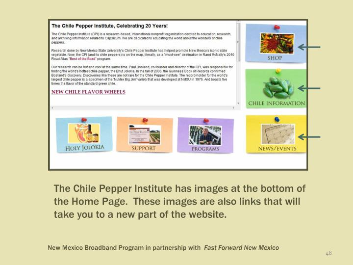 The Chile Pepper Institute has images at the bottom of the Home Page.  These images are also links that will take you to a new part of the website.