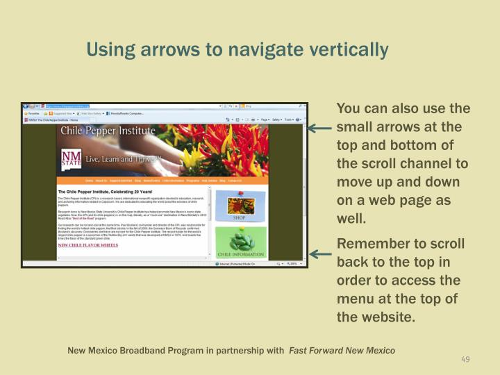 Using arrows to navigate vertically