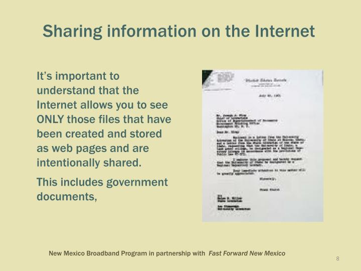 Sharing information on the Internet