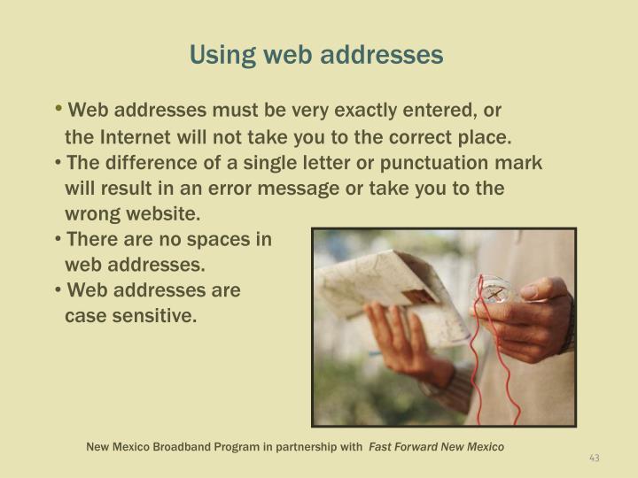 Using web addresses
