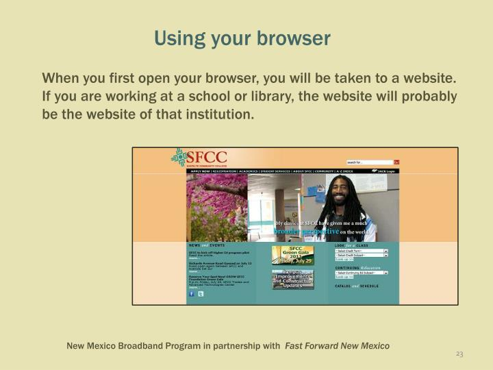 Using your browser