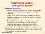 client server database management systems
