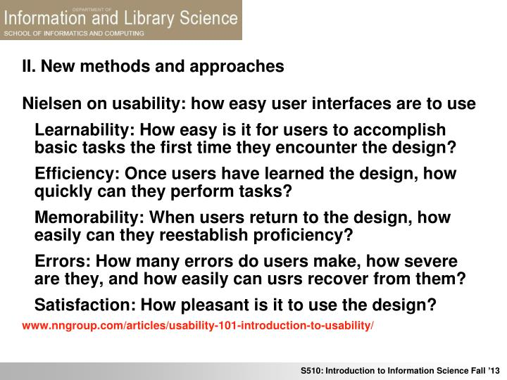 II. New methods and approaches