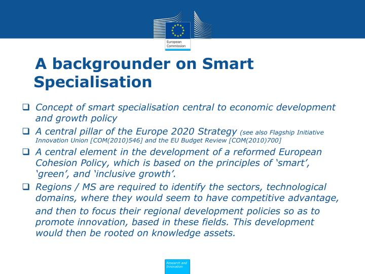 A backgrounder on Smart Specialisation