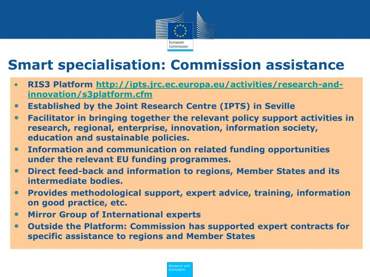 Smart specialisation: Commission assistance