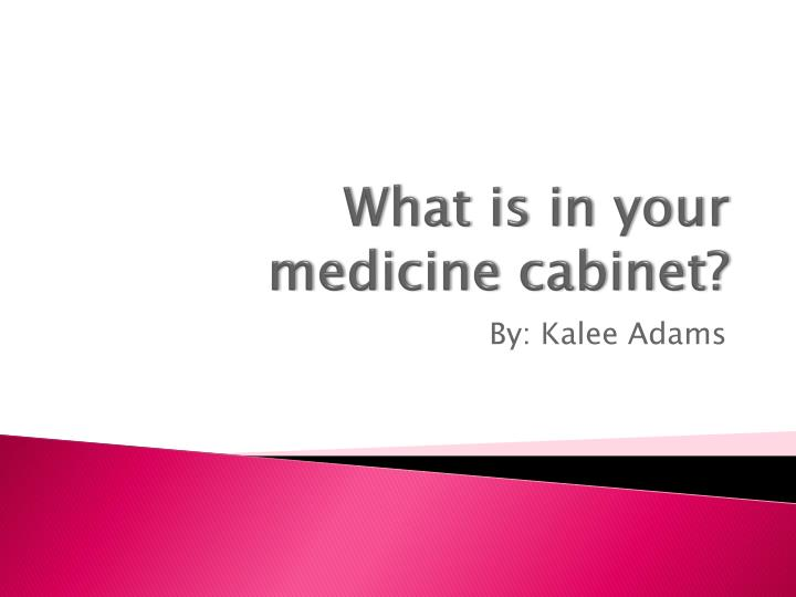 what is in your medicine cabinet n.
