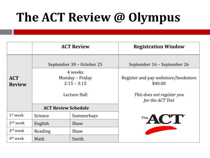 The ACT Review @ Olympus