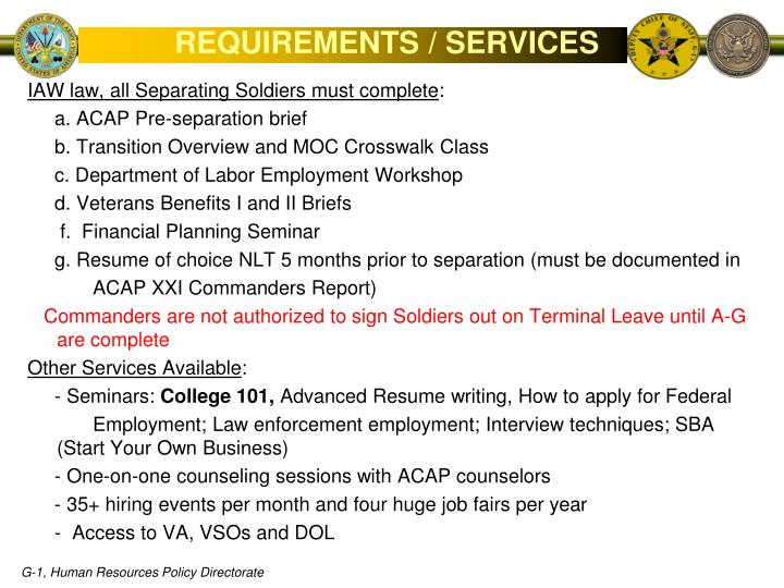 REQUIREMENTS / SERVICES